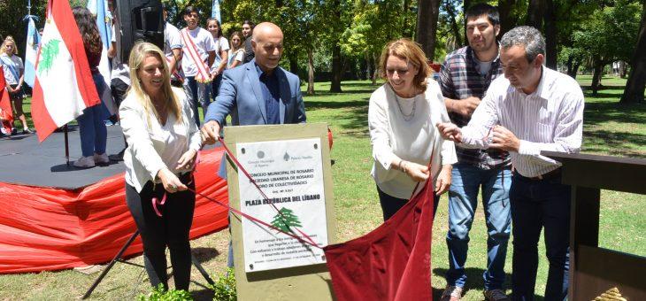 Inauguraron la plaza República del Líbano
