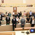 Todos los concejales y concejalas en la inauguración del período ordinario de sesiones junto al intendente pablo Javkin